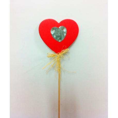 24 Corazón pick madera/zinc 8x8+30