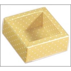 200 Cajas de regalo mango con topos/tapa transparente 6x6x3.2 cms.