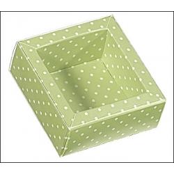 100 Cajas de regalo verde claro con topos/tapa transparente 12x12x3.2 cms.