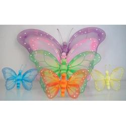 6 Mariposas, color surtido. 20x13 cms