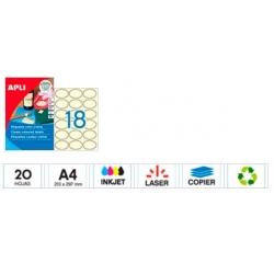 360 Etiquetas adhesivas oval crema 63.5X42.3mm. Imprimible.
