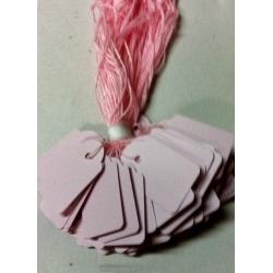 Etiquetas colgantes. Color rosa. C/100 uds