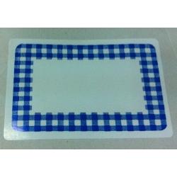 Etiqueta adhesiva, vichy azul 52x78 mm. 10 blister de 6 uds.