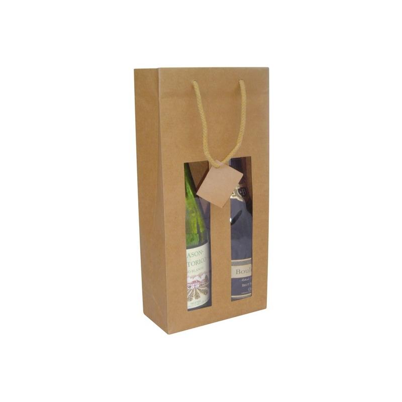 fac5e3306 Bolsa de lujo para botella en papel kraft verjurado natural con ventana.  asa de cordón