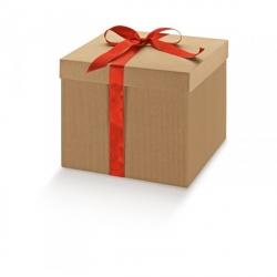 100 Cajas de regalo micro canal natural 14x14x8 cms.
