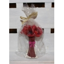 4 velas flores rojas 7x12 cms