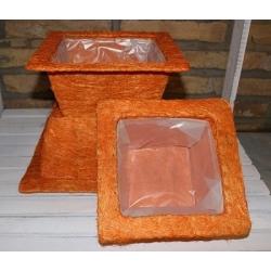 2 Sets de 3 cestos / maceteros ábaca naranja