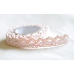 Lace tape / puntilla adhesiva. Crochet rosa palo. 15mmx2m. Aprox.