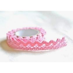 Lace tape / puntilla adhesiva. Crochet rosa. 15mm x 2 m Aprox