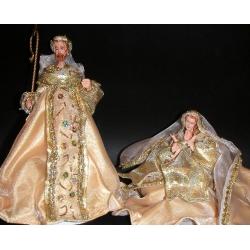 Nacimiento / Belén, crema y oro de 2 piezas. H 28 cms