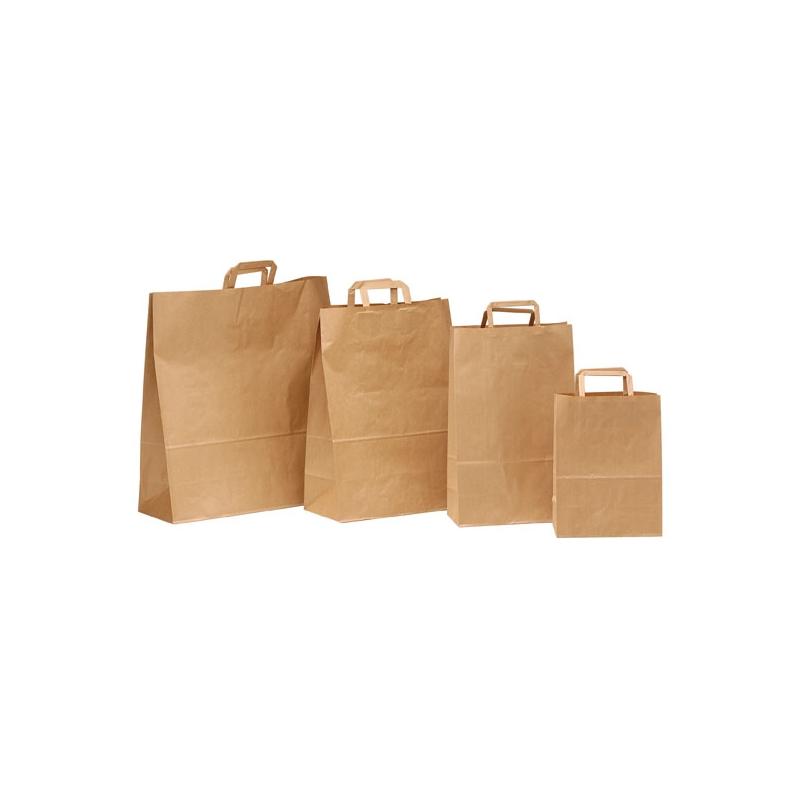 compra venta modelado duradero diseño moderno 250 Bolsas de papel kraft 32x12x41, asa plana.