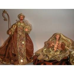 Nacimiento / Belén, marrón y oro de 2 piezas H.28 cms
