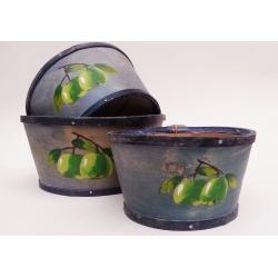3 set de 3 Cestas-contenedor azules con mazanas