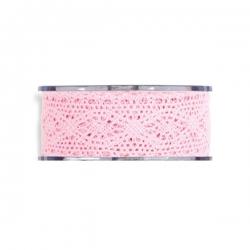 Cinta de regalo puntilla, rosa. 40 mm x 16 m