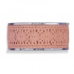 Cinta de regalo encaje-puntilla, rosa palo. 40 mm x 16 m