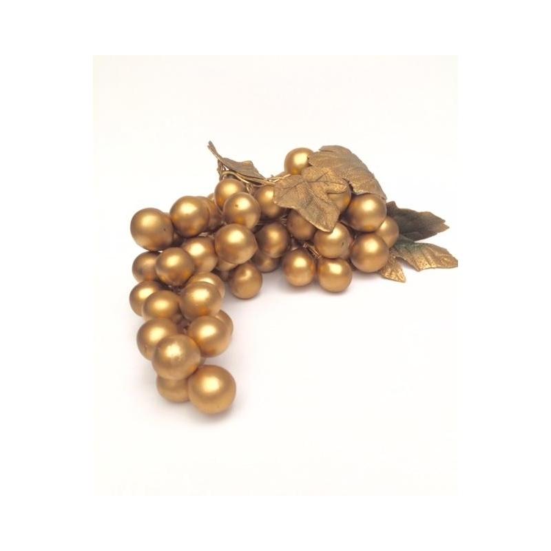 4 Racimos de uva dorada, para decoración. 22 cms Material plástico
