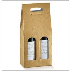 30 Cajas para 2 botellas Simil tela, color oro. 180mmx90mmx385mm. AGOTADO TEMPORALMENTE