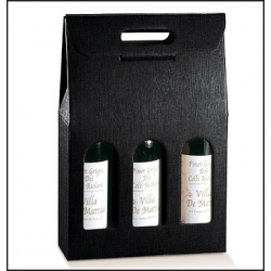 30 Cajas para 3 botellas Simil tela, color negro.