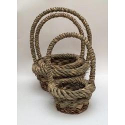 Set de 3 cestas rústicas con asa alta
