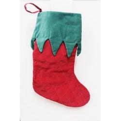 6 Calcetines-bota de Navidad, terciopelo rojo y verde