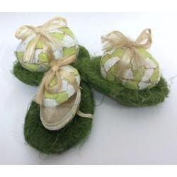 2 set de 3 huevos-caja con nido verde.