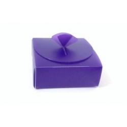 50 Cajas plásticos rígido color morado 8x8x3cms