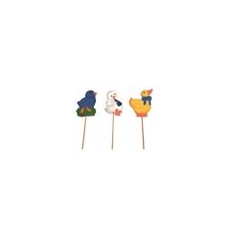 12 picks con pollito azul, amarillo y pato blanco.