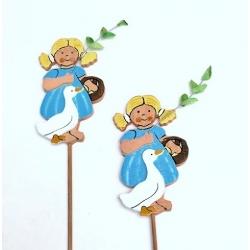 12 picks de madera con muñeca y oca