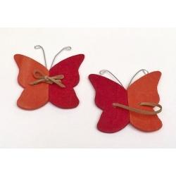 24 Mariposas de madera color combinado, naranja-rojo