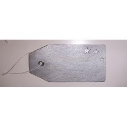 48 Etiquetas colgantes en pergamino plata con téxto blanco -merry-