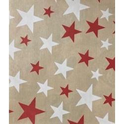 Bobina de papel kraft para regalo. Estrellas rojas y blancas