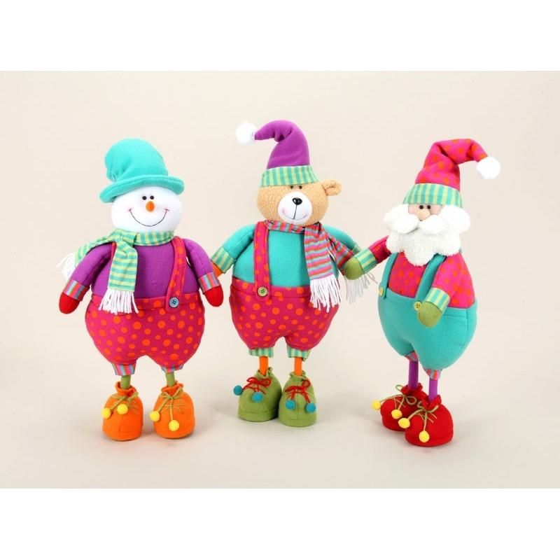 trio de muñecos navideños papa noel osito y muñeco de nieve 45 cms
