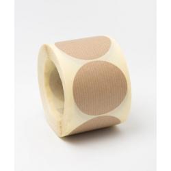 500 Etiquetas adhesivas circulares, kraft natural 30 mm.