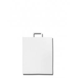 250 Bolsas de papel blanco, 31 x 18 x 39, asa plana.