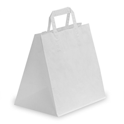 250 Bolsas de papel blanco 26x18x25, asa plana