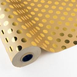 Bobina de papel lujo, kraft liso, con lunares stamping dorado