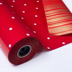 Bobina de papel regalo, rojo con lunares blancos y reverso rayado en dorado.