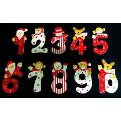 Números navideños adhesivos c/200uds