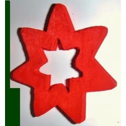 36 estrellas de madera, roja.